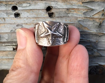 Tufa Cast Sterling Silver Ring for Women Size 9.75, Lone Star Texas Jewelry Native American