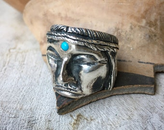 Super Heavy 36g Cast Sterling Silver Native American Chief Ring Unisex Size 11.75, Biker Jewelry