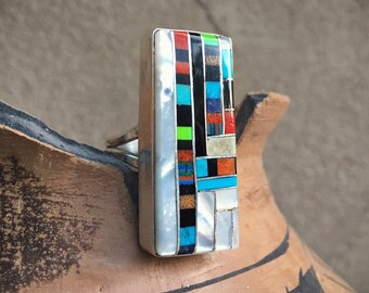 Channel Inlay Turquoise Ring Size 9.5 Multi Stone Sterling Silver Santo Domingo Native American Indian Jewelry