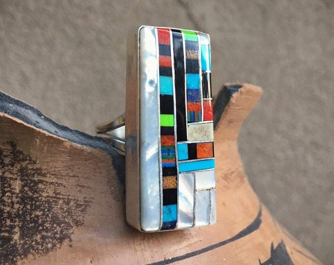 Featured listing image: Channel Inlay Turquoise Ring Size 9.5 Multi Stone Sterling Silver Santo Domingo Native American Indian Jewelry