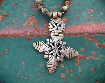 Vintage Ethiopian Cross Pendant Silver Tone, Gypsy Jewelry, Nomad Jewelry Axum Africa, Coptic Cross