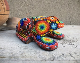 Vintage Huichol Bead Art Frog in Rainbow Colors, Mexican Indigenous Native American Folk Art, Toad Figurine, Boyfriend Gift for Men Gardener