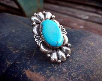 Navajo Laura Willie Turquoise Ring Size 9.75 for Women, Native American Indian Jewelry Southwest