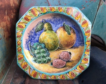 Vintage Square Sided Mexican Pottery Decorative Wall Plate with Fruit Scene, Southwestern Decor