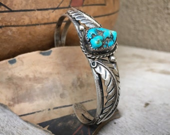 Traditional Navajo Nugget Turquoise Cuff Bracelet Unisex, Native American Indian Jewelry