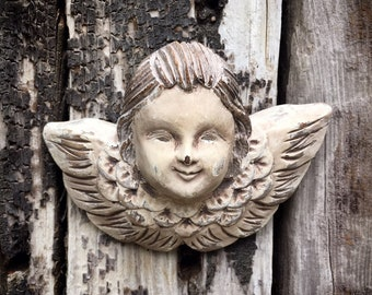 Small Vintage Handmade Carved Wood Angel Wall Hanging Religious Folk Art, Home Altar Cherub