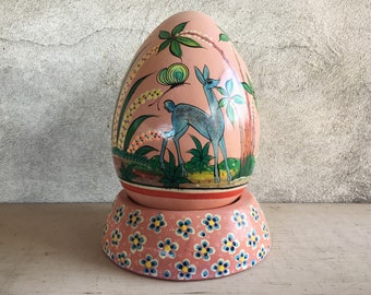 Rare Large Tlaquepaque Pottery Egg on Stand Fantasia Design, Pink Decor Ceramic Easter Egg