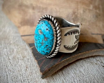 Navajo Tillie Jon Webbed Turquoise Ring Cigar Band Style Size 8.5, Native American Indian Jewelry