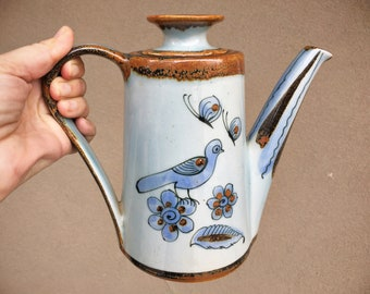 Signed Ken Edwards Pottery Teapot Tall for Coffee Tea, Tonala Mexico El Palomar, Blue Bird Design