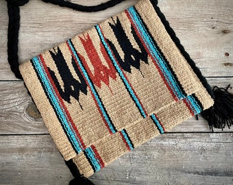 Woven Blanket Purse Beige and Black, Lightweight Hippie Boho Mexican Ethnic Cross Body Stash Bag