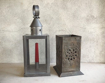 Two Vintage Metal Lantern Candleholders Rustic Mexican Patio Decor Metal and Glass Lantern