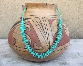 Turquoise Nugget Choker Necklace for Women, Old Pawn Native American Indian Jewelry