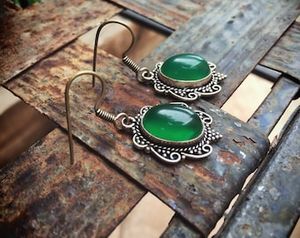 Vintage German Silver Chrysoprase Earrings for Women, Bohemian Jewelry, Chalcedony Green Stone