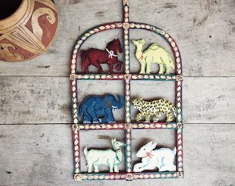 Vintage Metal Wall Hanging Painted Animals Colorful Decor Rustic Bohemian Home Eclectic Style