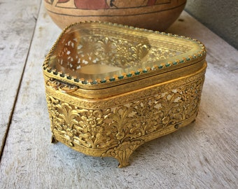Vintage Beveled Glass Filigree Ormolu Brass Trinket Box, Footed Jewelry Casket, Hollywood Regency