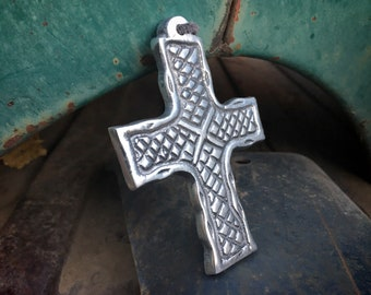 Small Pewter Cross Ornament from Mexico, Religious Christmas Tree Decoration Wall Hanging, Gift for Christian Catholic, Stocking Stuffer
