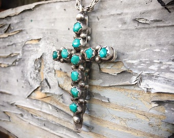 Vintage Double Sided Turquoise and Coral Cross Pendant, Old Pawn Navajo Native American Necklace