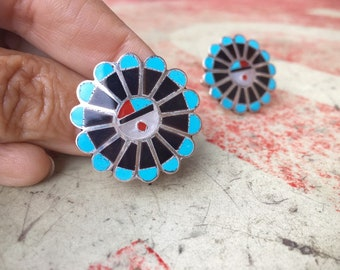 Zuni Sunface Black Onyx and Turquoise Cufflinks for Men, Native American Indian Southwestern Cuff Links
