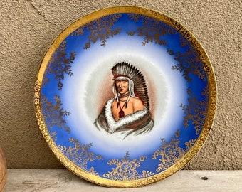 Vintage Krautheim & Adelberg Selb Bavaria Germany Plate of American Indian Chief, Decorative