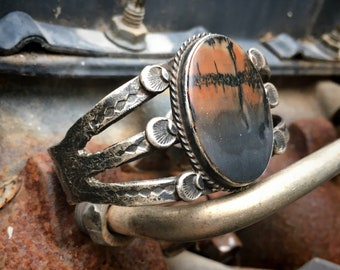 Antique Coin Silver Cuff Bracelet with Picture Jasper Stone, Fred Harvey Era Native American Style