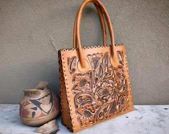 Tooled Leather and Laser Cut Tote with Stitch Whip Edging & Shoulder Straps, Western Purse