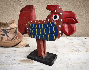 Red and Blue Painted Wooden Rooster Statue Primitive Folk Art, Rustic Home Farmhouse Decor