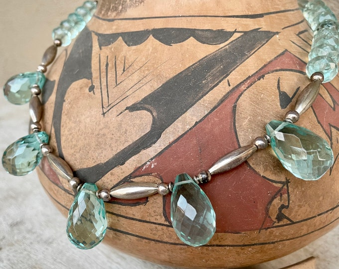 "Featured listing image: Vintage German Silver Light Blue Faceted Bead Necklace 19"", April Birthstone Aquamarine Color"