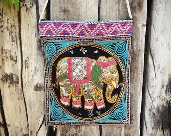 Vintage Sequined Elephant Fabric Purse Gift for Hippie Mom, Ethnic India Bag with Should Strap
