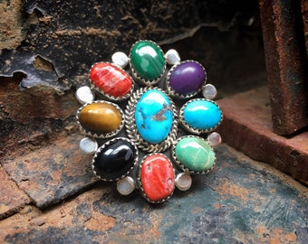 Size 8.25 Cluster Ring Blue and Green Turquoise and Spiny Oyster, Native American Indian Jewelry