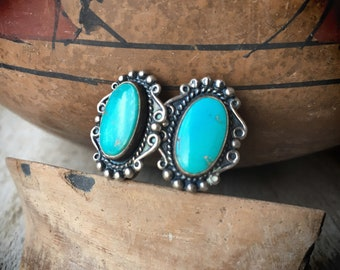 Vintage Screw Back Earrings Small Turquoise Silver Conchos, Fred Harvey Era Jewelry