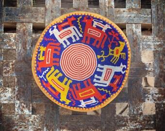 Vintage Huichol Beaded Gourd Medicine Bowl with Animal Designs Blue Red-Orange Traditional Bead Art