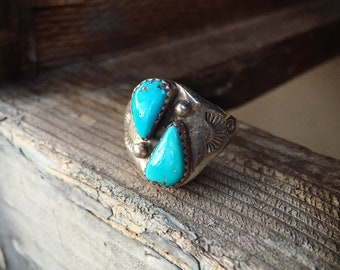 Sterling Silver Turquoise Ring for Men Size 10.75, Navajo Men's Ring, Native America Indian Jewelry
