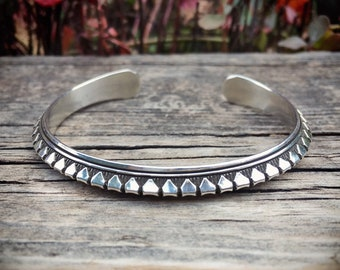 Signed Navajo Sterling Silver Stacking Bracelet for Women, Native American Indian Jewelry Narrow Cuff