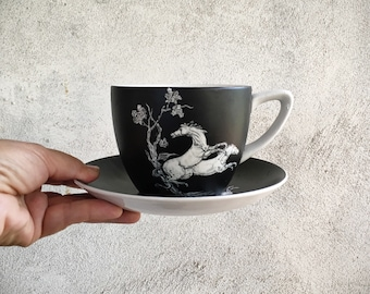 Vintage Crown Devon Fieldings Porcelain Pegasus Cup and Saucer Made in England Red or Black