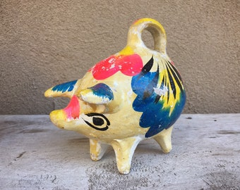 Vintage Mexican Pottery Souvenir Piggy Bank, Clay Pig Breakable Coin Bank, Mexican Folk Art