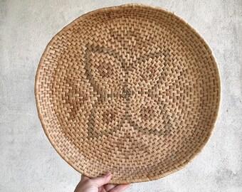 Vintage Shallow Basket Woven Coiled Earthtone Bohemian Decor, Primitive Decor, Tribal Raffia Basket