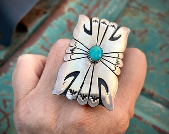 Huge Sterling Silver Overlay Ring with Turquoise by Navajo Tommy and Rose Singer, Native American