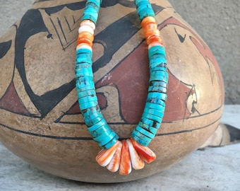 1970s Turquoise Heishi Necklace Southwestern Jewelry, Native American Indian Santo Domingo