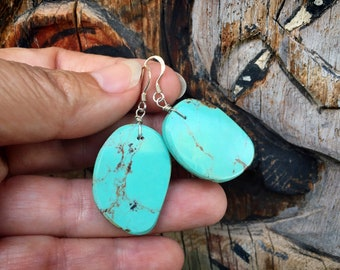 Thin Slab Turquoise Earrings for Women, Native American Indian Jewelry, Santo Domingo Pueblo