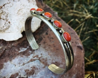 Five Stone Coral and Silver Row Stacking Bracelet for Women, Native American Indian Jewelry, Old Pawn
