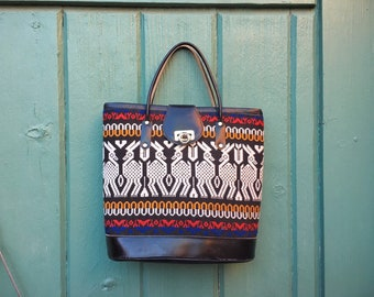 Vintage Small Guatemalan Textiles and Black Leather Purse, Fabric Handbag Bohemian Fashion