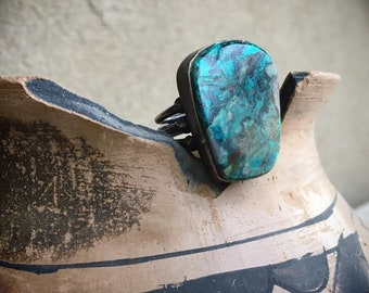 Chunky Chrysocolla Ring for Women Size 8.5 Blue-Green Healing Gemstone Jewelry Southwestern