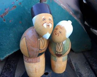 Vintage Japanese Kokeshi Doll Elderly Couple Hand Painted, Hand Turned Wooden Grandparents Figurine
