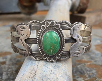 Early Turquoise Cuff Bracelet for Men or Women, 1930s Fred Harvey Era Natural Turquoise Jewelry