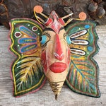 Vintage Painted Metal Butterfly Wall Hanging from Guererro Mexico Folk Art, Collectible Insect Gift for Bug Lover, Rustic Primitive Decor