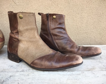 John Fluevog Winklepicker Zip Up Ankle Boots Mens Size 6 (Women 8 to 8.5) Two Tone Suede Leather