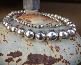Vintage Sterling Silver Bead Choker Necklace for Women, Navajo Pearls Native American Jewelry