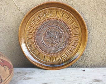 Mid Century Art Pottery Plate Treasure Craft USA, Stoneware Plates Round Platter, Brown Decor Modern