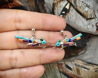 Sterling Silver Roadrunner Earrings Turquoise Multistone Native American Indian Jewelry