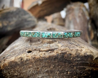 Vintage Channel Inlay Row Bracelet Crushed Turquoise Cuff Bracelet for Women Native American Indian Jewelry